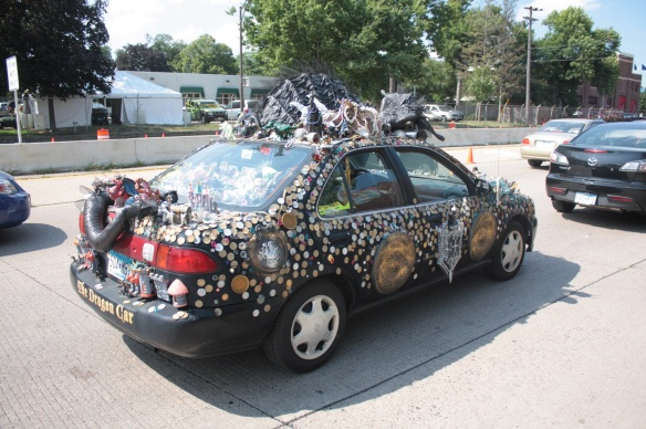 """The back bumper says it's """"The Dragon Car"""" while from the front bumper it's """"The Smaug Mobile."""" It's interesting, whatever it's called."""