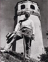 Cap Wigington stands in front of the Highland Water Tower in this undated photo. Courtesy MnHS Press.
