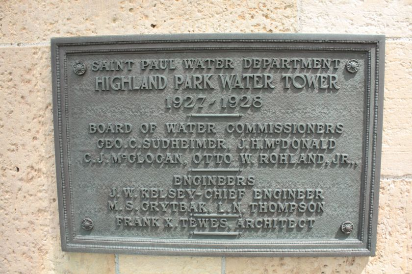 The plaque commemorating construction of the Highland Park Water Tower.