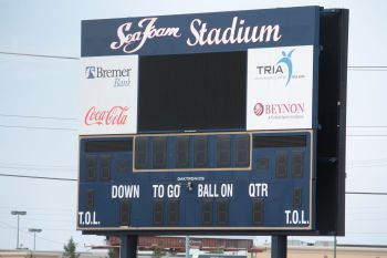The stadium gets its name from the Sea Foam Sales Company of Eden Prairie which donated the first $5 million of the $8 million stadium cost. Sea Foam Sales Company makes automotive cleaning products.
