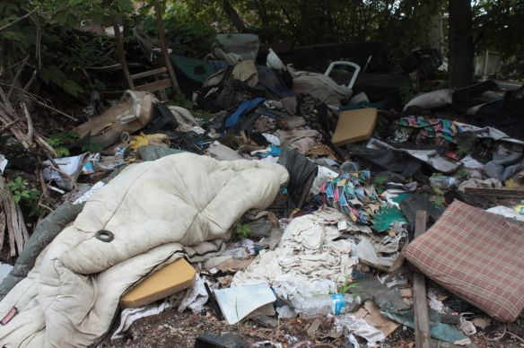 Articles discarded here range from broken chairs, mattresses and couches to toys and blankets.