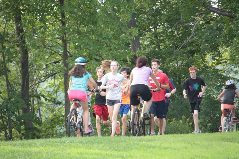 Walkers, runners and bikers were out en masse this evening.