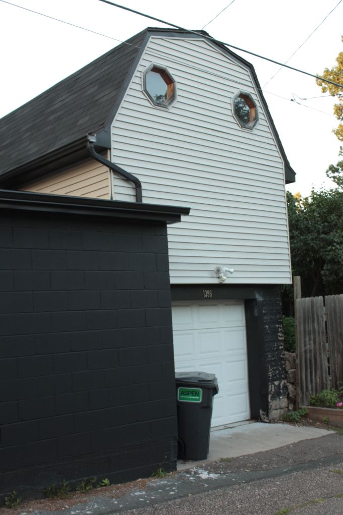 If you let your imagination go, this two level garage has a face that horror writer Stephen King would love.