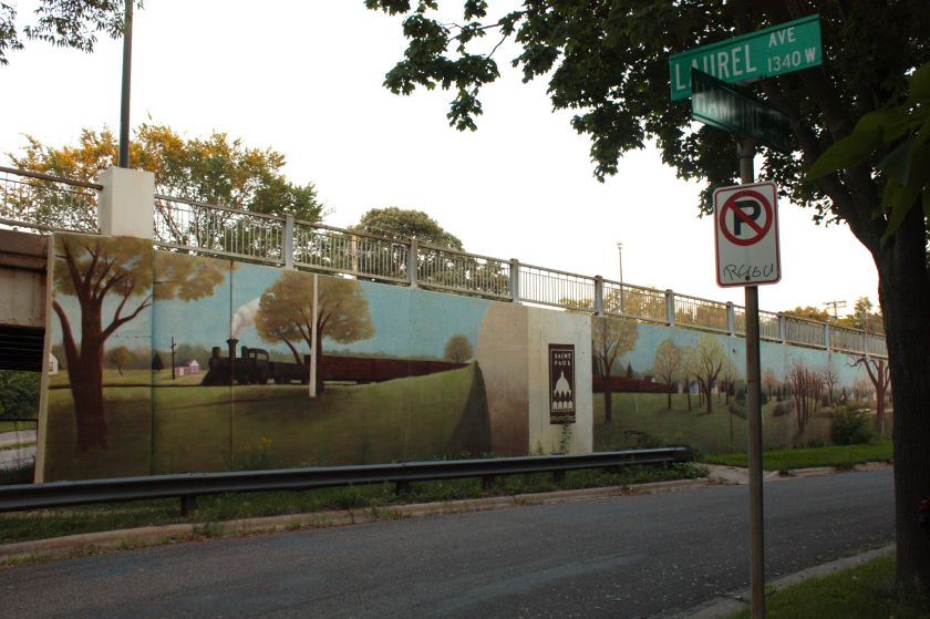 The mural on the Hamline Avenue bridge as seen from Laurel Avenue and Hamline frontage road.