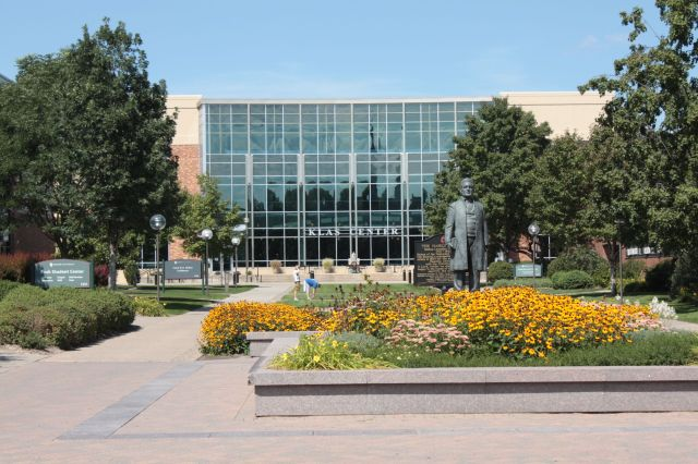 Hamline Plaza, looking north at the statue of Bishop Hamline and Klas Center, the athletics building.