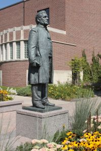 A statue of Bishop Lionidas Hamline, the University namesake, graces the Hamline Plaza