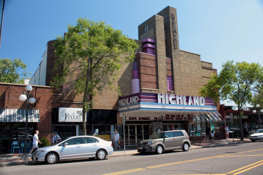 The Highland Theater from the west side of Cleveland Avenue