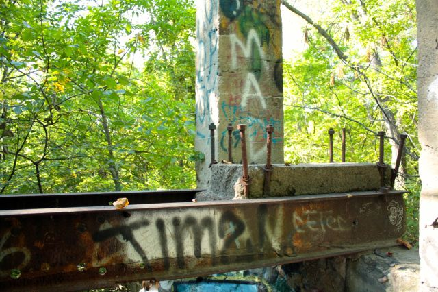 Support structures are the graffiti-covered remains of what was part of the Twin Cities Brick Company.
