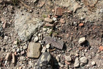 and remnants are everywhere. My shoe gives you an idea of the size of the bricks.