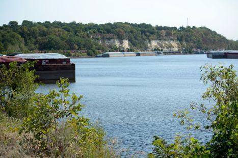 Barges line both sides of the Mississippi along Warner Road, just east of Downtown.