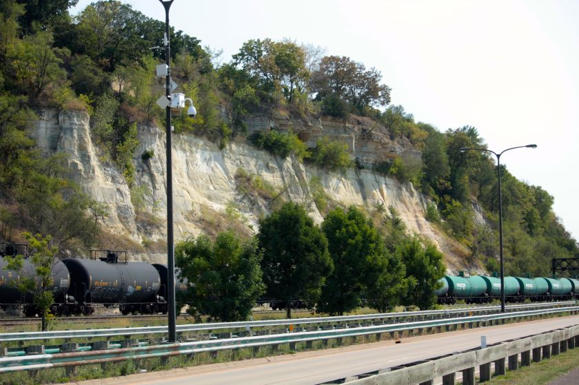Looking northeast along Warner Road. Indian Mounds Park sits on the bluffs above the railroad tracks.