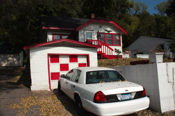 There is no missing the house and garage at 528 Point Douglas Road thanks to the red trim.
