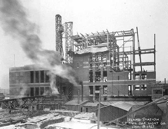 Construction of Island Station Power Plant  Courtesy of Minnesota Historical Society