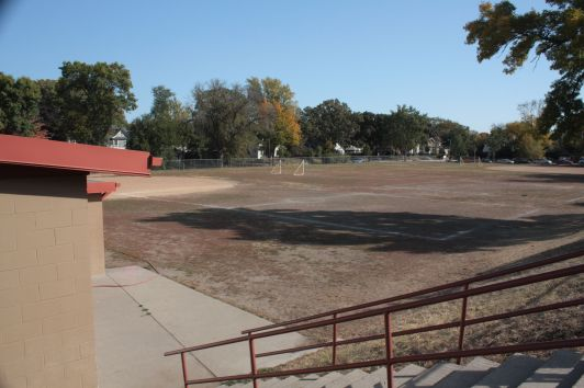 Softball and soccer fields during warm months, this area is transformed into three lighted ice rinks during the winter.