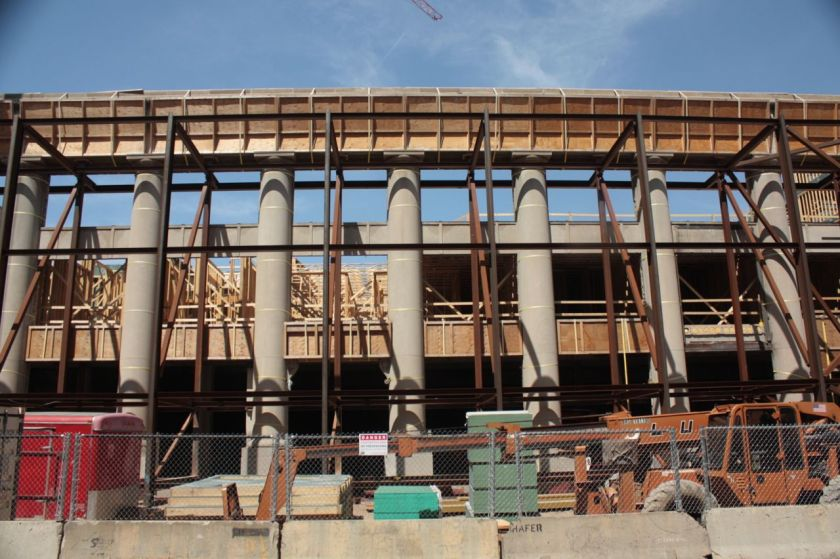 The pillars surrounded by support structures are remnants of the former Fire Department headquarters/Station 8 and are being incorporated into the Penfield development now under construction.