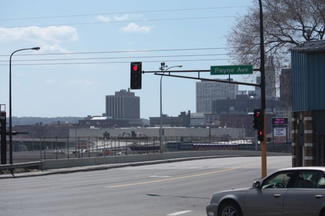 Payne Avenue and East 7th Street, on the fringe of Downtown, is not the best place to view the skyline.