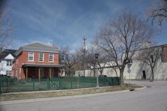 The Benjamin Brunson House and a neighboring warehouse.