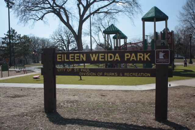 Eileen Weida Park features a playground and softball fields. The Railroad Island park was renamed in 1988 to honor a neighborhood activist of the same name. The park occupies the block bordered by Fred, Tedesco, Burr and DeSoto Streets.