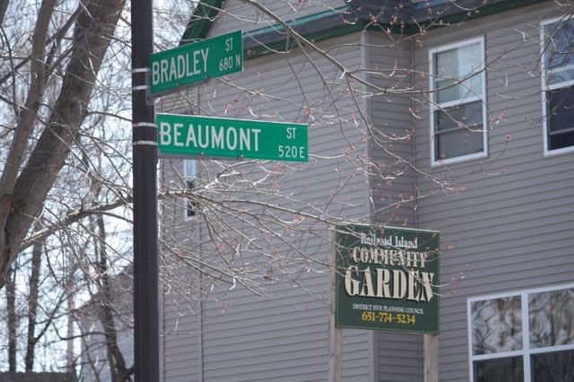 A couple doors south at Bradley and Beaumont Streets is the Railroad Island Community Garden.