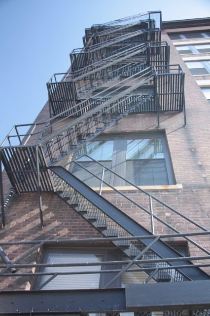 The fire escape on the 10th Street side of Renaissance Box.