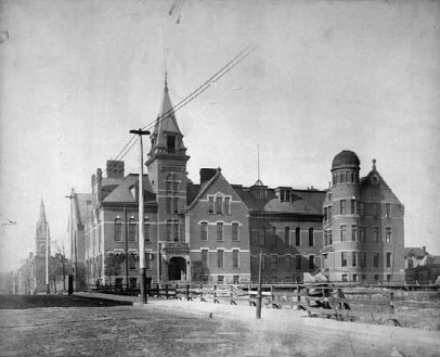 The original Central High School, which stood where the Penfield is being built, from 1883 until 1929 when it was knocked down and replaced by the Fire Department headquarters.