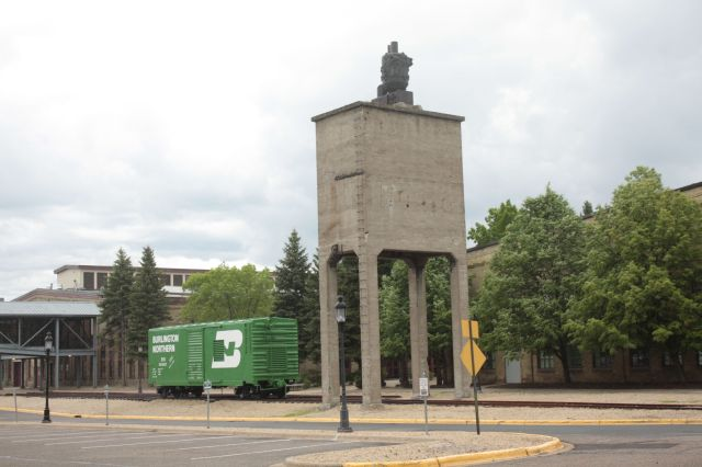 Burlington Northern box car and a water tower from the steam engine era.
