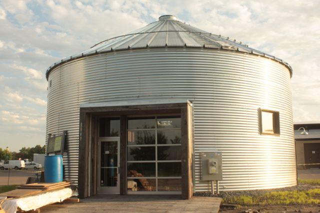 A grain bin building.