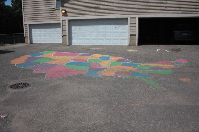 The US map at the end of Tainter Court.