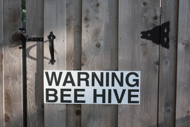 I have no reason to doubt that a colony or two of bees live in the yard behind this gate but I'm thinking this sign more effectively deters thieves than any alarm or 'Beware of Dog' sign. 1003 Osceola