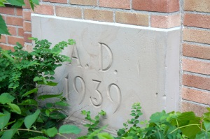 The cornerstone of the former Edgcumbe School.