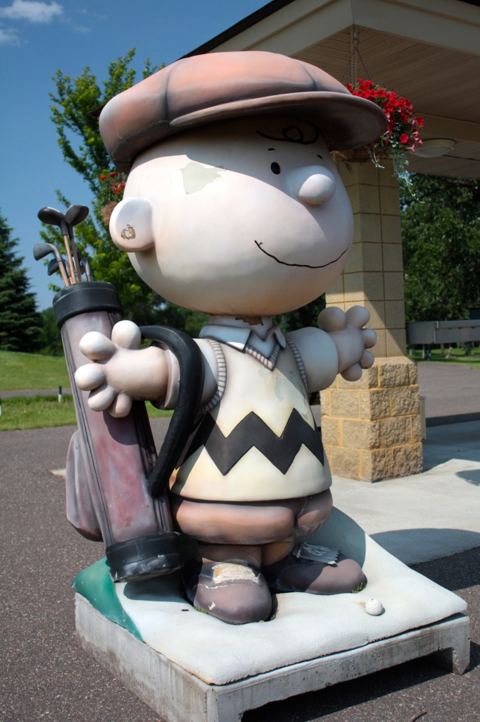 """Charlie Brown, from the very popular and fun """"Peanuts on Parade"""" event about 15 years ago, greets all who tee off at Highland National."""