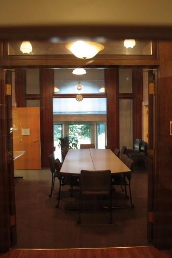 Looking out through the original entrance of Richards Gordon. The foyer is where the table is.