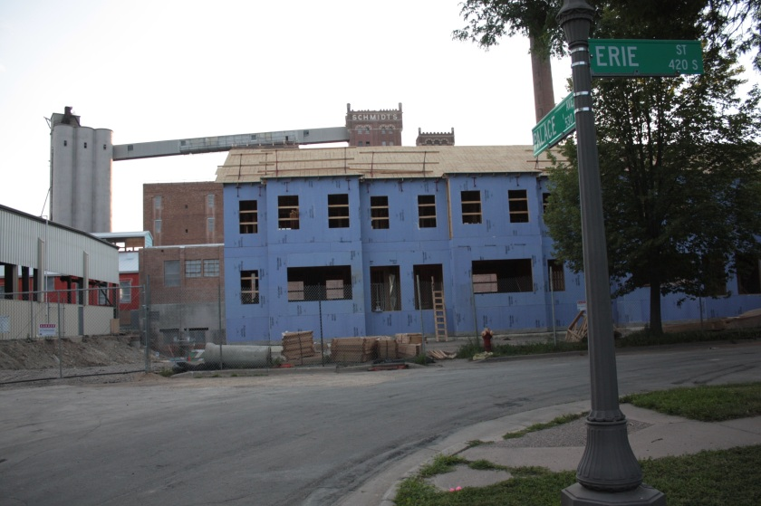 Not all of the Schmidt Artists Lofts housing is renovation. Here are a couple of the 12 new townhouses being built on the east edge of the brewery property.