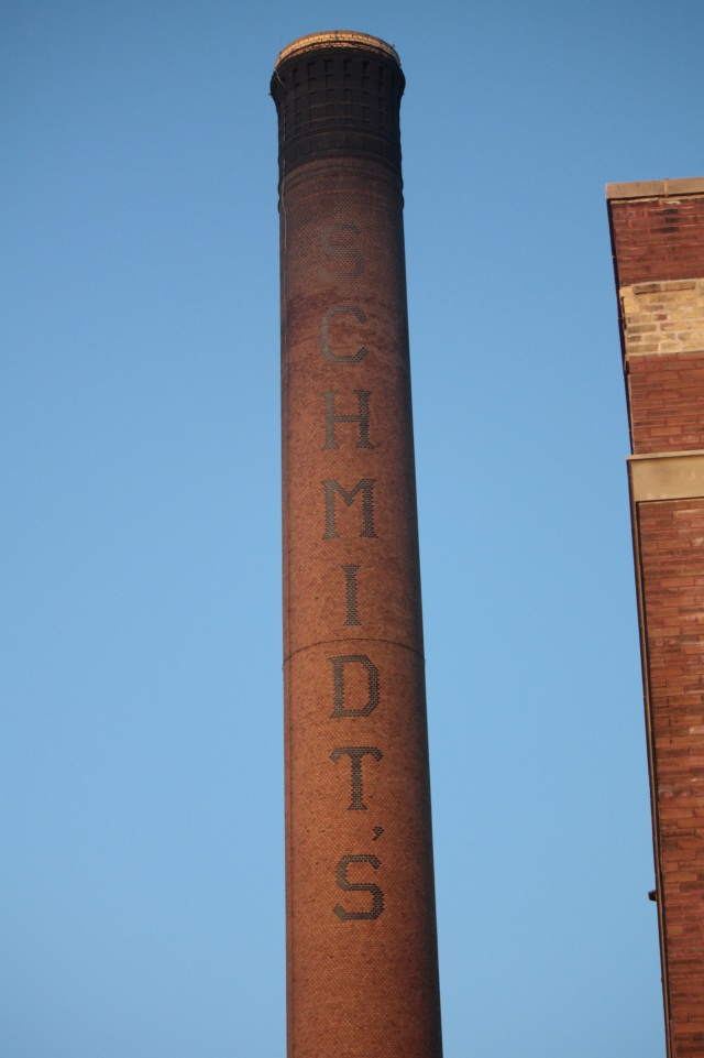 "Years of smoke pouring from the smokestack as brews like Schmidt, Old Style and Pig's Eye have dulled the ""S"" and ""C""."
