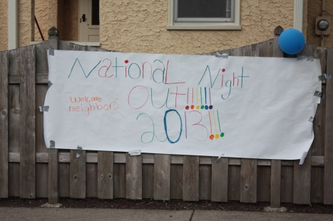 A cheery welcome sign greeted neighbors.