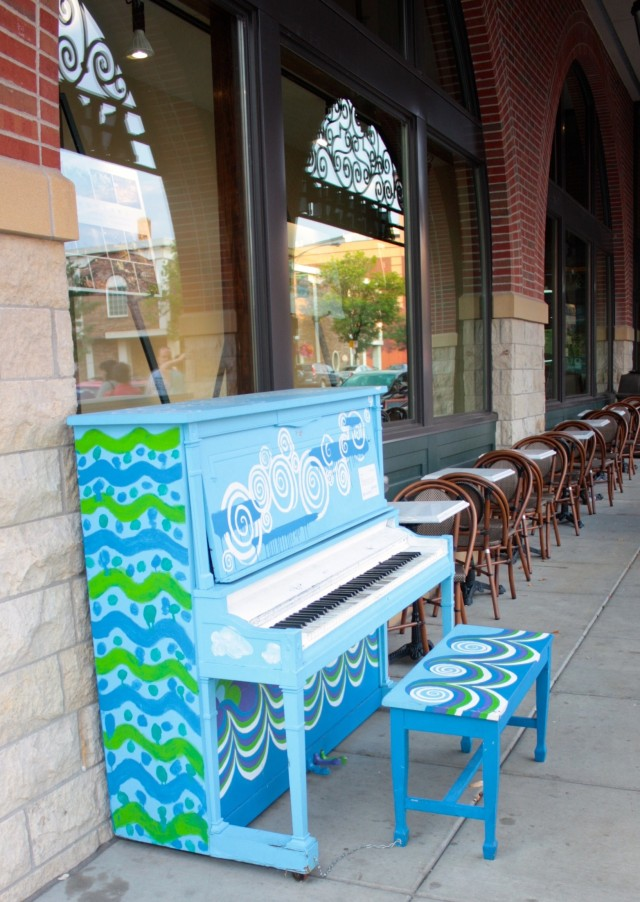 This blue piano, one of the 'Pianos On Parade' series, sits in front of Cossetta's and beckons passers by to play.