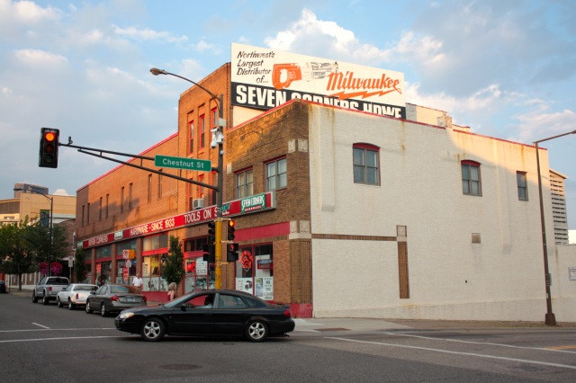 Seven Corners Hardware has occupied the southeast corner of West Seventh and Chestnut since 1933. The store is known for its substantial selection of power tools.