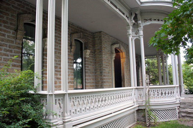 The porch of the Alexander Ramsey House. Ramsey's two granddaughters lived in the house until the 1960s at which time the mansion and furnishings were donated to the Historical Society.