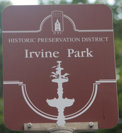 One of the signs announcing the Irvine Park Historic Preservation District features a silhouette of the park's oft photographed fountain.)