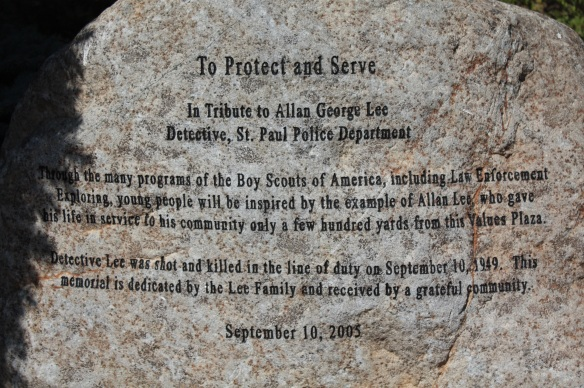 Another rock in the Plaza memorializes St. Paul Police detective Allan