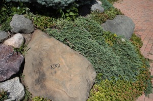 One of the rocks in the Huling Values Plaza.