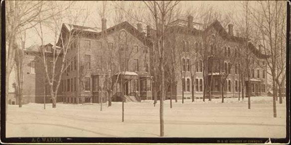 St. Joseph's Academy in 1887. The original building constructed in 1863 is on the left. Courtesy Minnesota Historical Society.