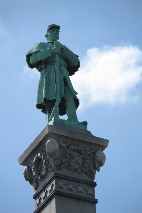Standing atop the memorial is a statue of Josias R. King who was the first Minnesotan to volunteer to fight for the Union in the Civil War.