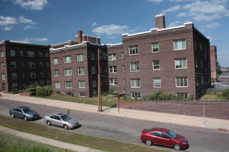 The Park Court Apartment buildings across Mulberry Street from the Hayden Center.