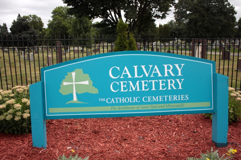At the entrance to Calvary Cemetery on Front Avenue