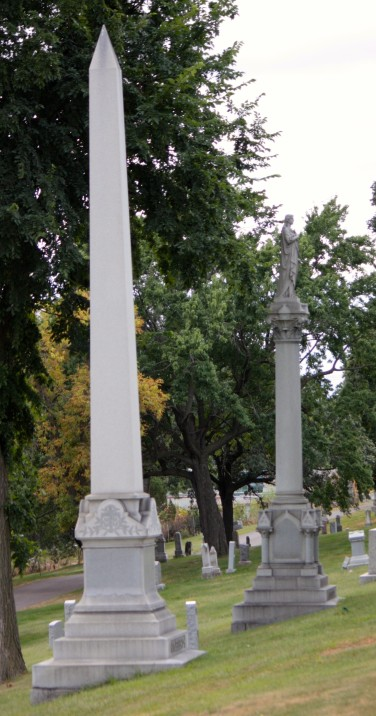 These obelisks are two of the taller monuments at Calvary.
