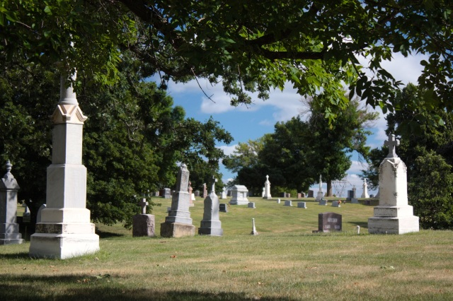The scenery at Calvary is beautiful and the assortment of grave markers is apparent in this shot.