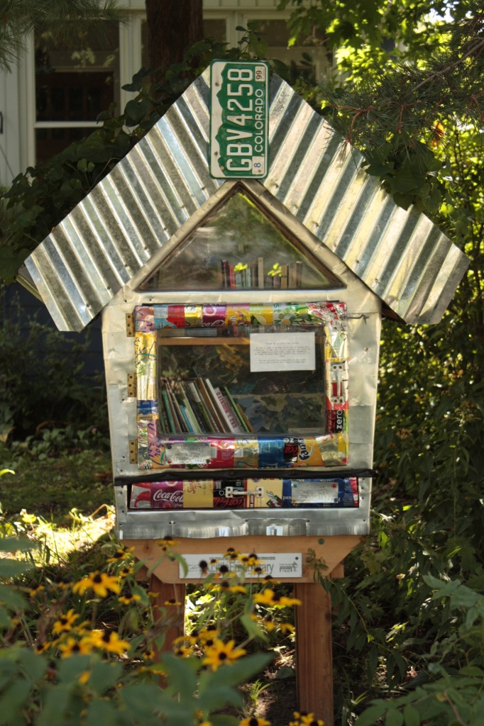An uncommon design for a Little Free Library.