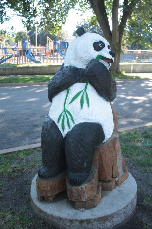A second sculpture, a panda, sits in front of 1033 Fairmount.
