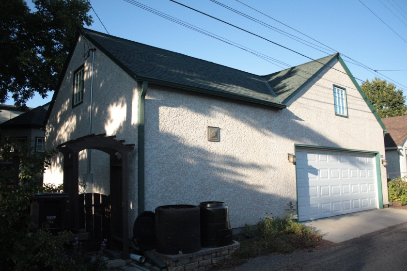 The left side of the garage is Mark Humphrey's workshop for piano restoration.